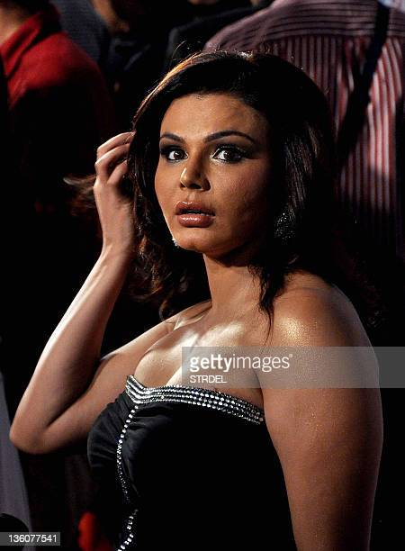 Indian Bollywood actress Rakhi Sawant attends the red carpet for the 'BIG star Entertainment Awards' in Mumbai on December 18 2011 AFP PHOTO/ STR