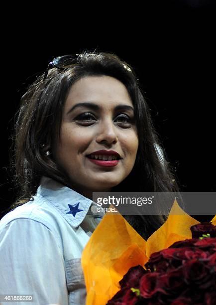 Indian Bollywood actress Rani Mukerji Chopra attends a felicitation event by Mumbai University and Pillai Group of Institutions in Mumbai on January...