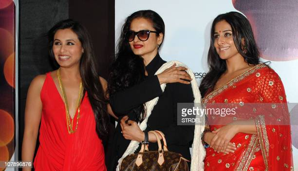 Indian Bollywood actress Rani Mukerji Rekha and Vidya Balan arrive for the premiere of the Bollywood hindi film 'No One Killed Jessica' directed by...