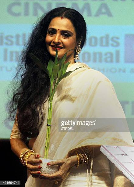 Indian Bollywood actress Rekha attends the inauguration of the Internationals Celebration Cinema Festival at Whisling Wood Institute in Film City in...