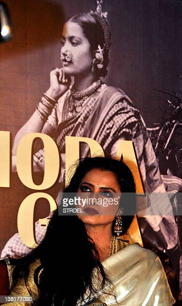 Indian Bollywood actress Rekha attends the 'Mada Goa' book launch in Mumbai on February 3 2012 AFP PHOTO/STR