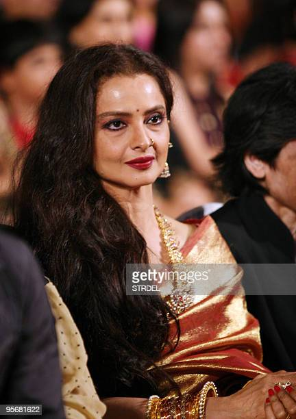 Indian Bollywood actress Rekha looks on during an awards ceremony in Mumbai late January 9 2010 AFP PHOTO/STR