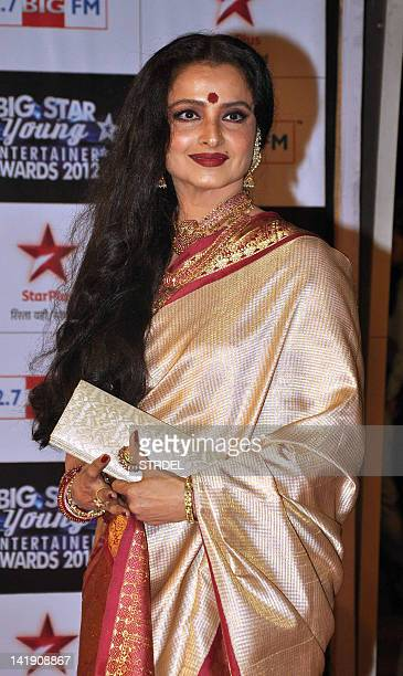 Indian Bollywood actress Rekha on the red carpet of the Big Star Young Entertainer Awards ceremony in Mumbai on March 25 2012 AFP PHOTO/STR