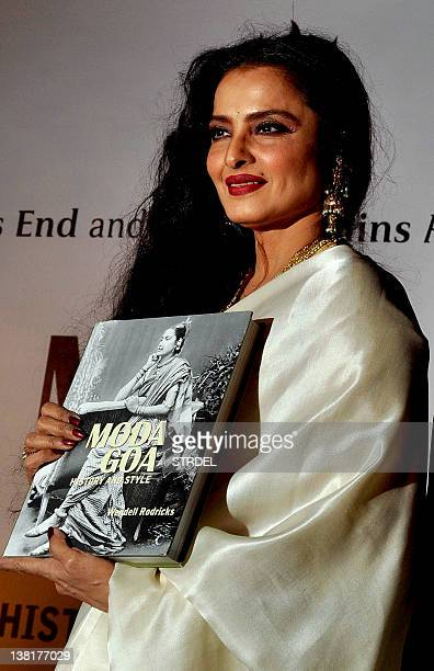 Indian Bollywood actress Rekha poses during the 'Mada Goa' book launch in Mumbai on February 3 2012 AFP PHOTO/STR