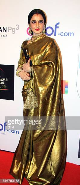 Indian Bollywood actress Rekha poses for a photograph during the 'HT Most Stylish Awards 2016' ceremony in Mumbai on late March 20 2016 / AFP / STR