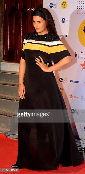 Indian Bollywood actress Richa Chadda attends the Jio MAMI 18th Mumbai Film Festival opening ceremony at the Royal Opera House which was being...