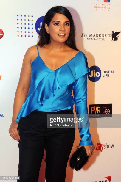 Indian Bollywood actress Richa Chadda attends the opening ceremony of the Jio MAMI 19th Mumbai Film Festival in Mumbai on October 12 2017 / AFP PHOTO...