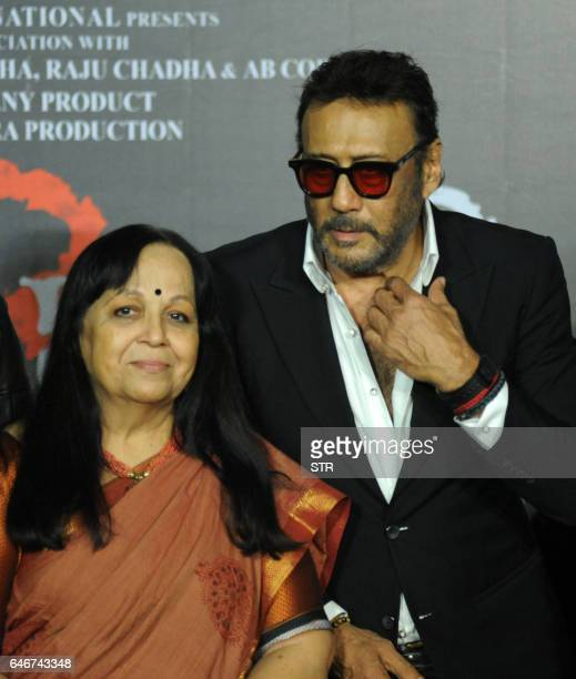 Indian Bollywood actress Rohini Hathangadi poses with actor Jackie Shroff during the trailer launch of the forthcoming Hindi Film Sarkar 3 written...