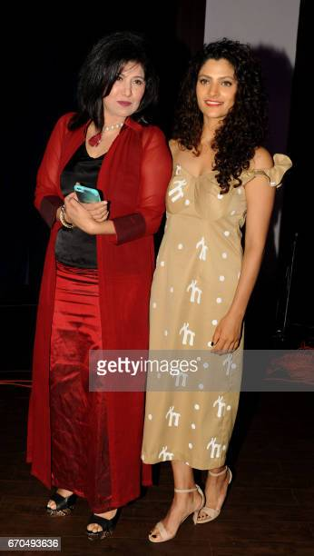 Indian Bollywood actress Saiyami Kher and Punjabi singer Vibha Kapoor attend a press conference to announce the Dadasaheb Phalke Excellence Awards...