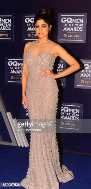 Indian Bollywood actress Samita Shetty attends GQ India's ninth anniversary with the annual Men of the Year Awards 2017 in Mumbai on September 22...