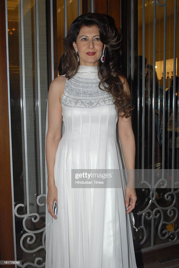 Indian bollywood actress Sangeeta Bijlani during the launch of Pradeep Jethani's flagship store 'Jet Gems' at Turner Road, Bandra on February 13, 2013 in Mumbai, India.