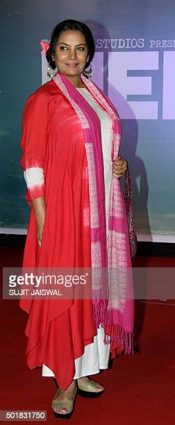 Indian Bollywood actress Shabana Azmi poses during the launch of the trailer of the forthcoming biopic 'Neerja' in Mumbai late December 17 2015 The...