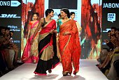 Indian Bollywood actress Shabana Azmi showcases a creation by designer Mandira Bedi on the fifth day of the Lakme Fashion Week summer/resort 2015 in...