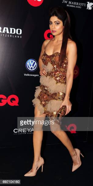 Indian Bollywood actress Shamita Shetty attends GQ Indias Best Dressed Men of 2017 event in Mumbai on June 3 2017 / AFP PHOTO /