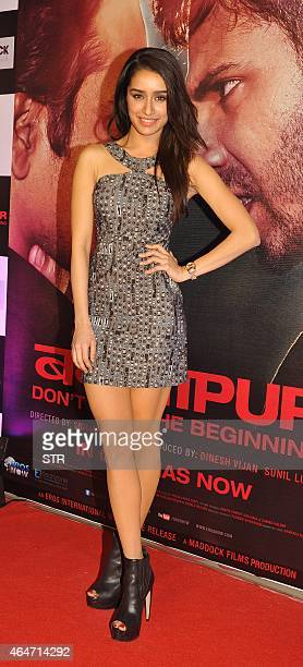 Indian Bollywood actress Shraddha Kapoor attends the Success Party of Hindi film 'Badlapur' directed by Sriram Raghavan in Mumbai on February 27 2015...