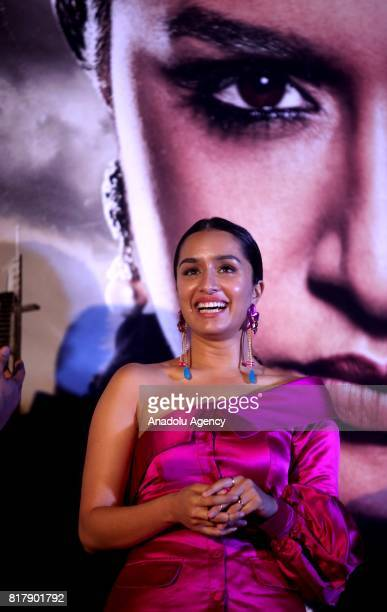 Indian Bollywood actress Shraddha Kapoor poses for a photo during a promotional event for the forthcoming Indian movie 'Haseena Parkar' directed by...