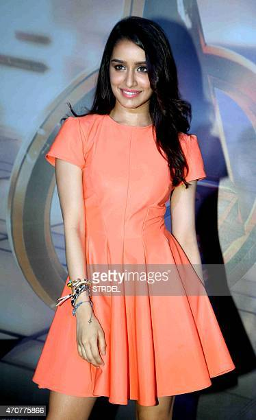 Indian Bollywood actress Shraddha Kapoor poses for a photograph during a screening of Hollywood film 'Avengers Age of Ultron' in Mumbai on late April...