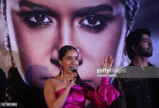 Indian Bollywood actress Shraddha Kapoor speaks during a promotional event for the forthcoming Indian movie 'Haseena Parkar' directed by Apoorva...