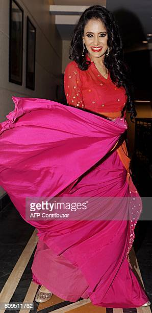 Indian Bollywood actress Shweta Khanduri poses for a photograph during a promotional event for Hindi music album 'Baarish Ke Baahane' composed by DJ...
