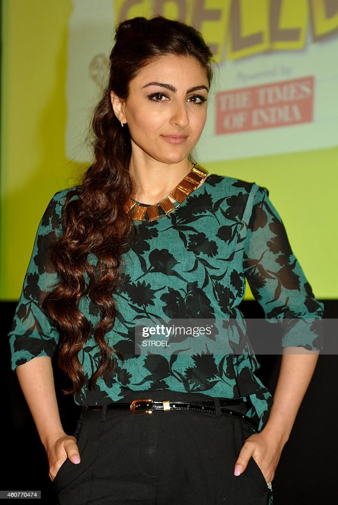 Indian Bollywood actress <a gi-track='captionPersonalityLinkClicked' href=/galleries/search?phrase=Soha+Ali+Khan&family=editorial&specificpeople=691303 ng-click='$event.stopPropagation()'>Soha Ali Khan</a> poses during an event for the seventh season of Spell Bee in Mumbai on December 22, 2014.