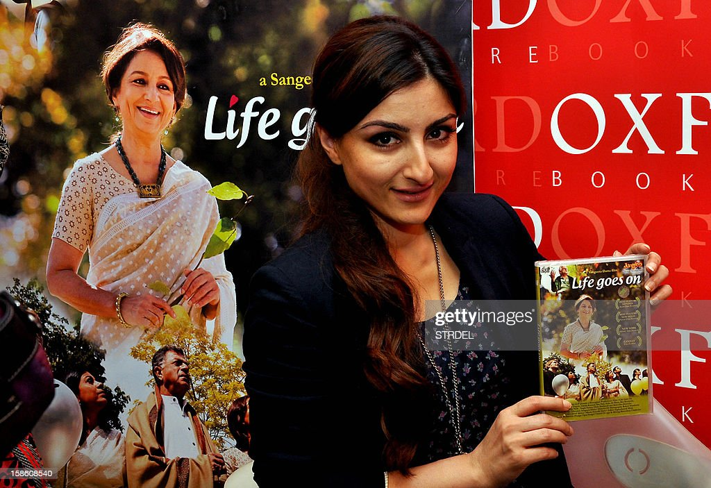 Indian Bollywood actress Soha Ali Khan poses during the DVD launch of film Life Goes On in Mumbai on December, 20 2012.