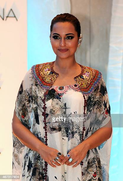Indian Bollywood actress Sonakshi Sinha attends the grand finale of the Lakme Fashion Week summer/resort 2015 in Mumbai late on March 22 2015 AFP...
