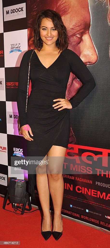 Indian Bollywood actress <a gi-track='captionPersonalityLinkClicked' href=/galleries/search?phrase=Sonakshi+Sinha&family=editorial&specificpeople=5781347 ng-click='$event.stopPropagation()'>Sonakshi Sinha</a> attends the Success Party of Hindi film 'Badlapur' directed by Sriram Raghavan in Mumbai on February 27, 2015.