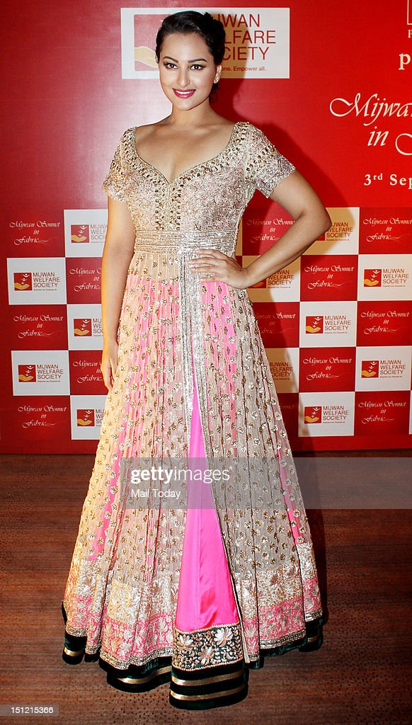Indian Bollywood actress Sonakshi Sinha during Shabana Azmi's charity fundraising fashion show Mijwan at Grand Hyatt in Mumbai on September 3, 2012.