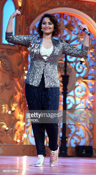 Indian Bollywood actress Sonakshi Sinha performs during the BIG STAR Entertainment Awards 2014 in Mumbai on December 18 2014 AFP PHOTO/STR