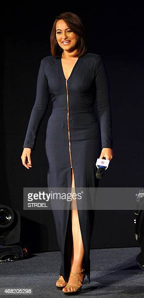 Indian Bollywood actress Sonakshi Sinha poses during a promotional event in Mumbai on March 31 2015 AFP PHOTO/STR