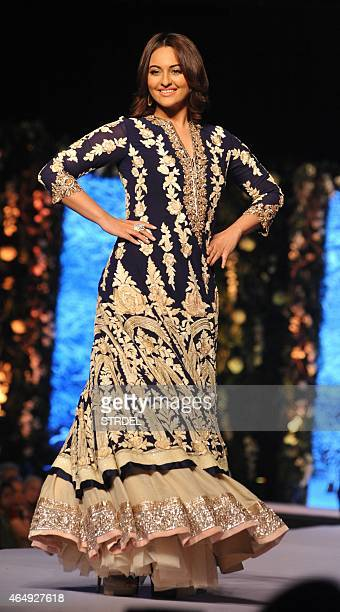 Indian Bollywood actress Sonakshi Sinha poses during the tenth annual Caring with Style fashion show in association with The Cancer Patients Aid...