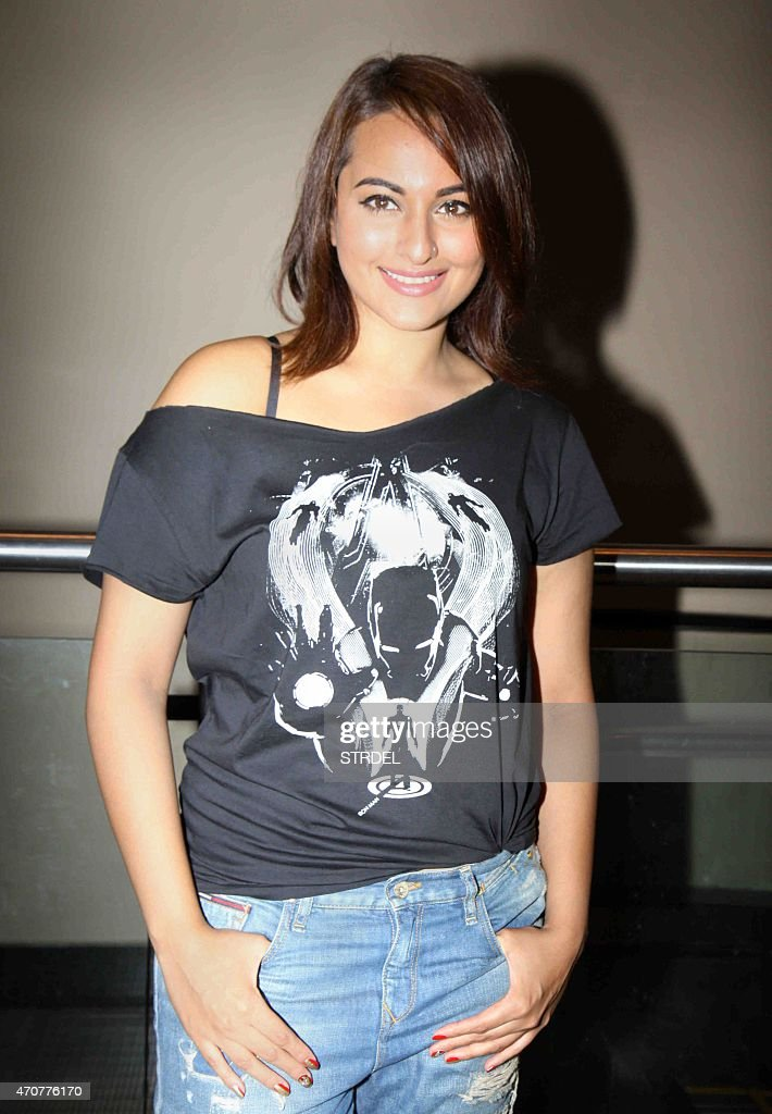Indian Bollywood actress <a gi-track='captionPersonalityLinkClicked' href=/galleries/search?phrase=Sonakshi+Sinha&family=editorial&specificpeople=5781347 ng-click='$event.stopPropagation()'>Sonakshi Sinha</a> poses for a photograph during a screening of Hollywood film 'Avengers - Age of Ultron' in Mumbai on late April 22, 2015.