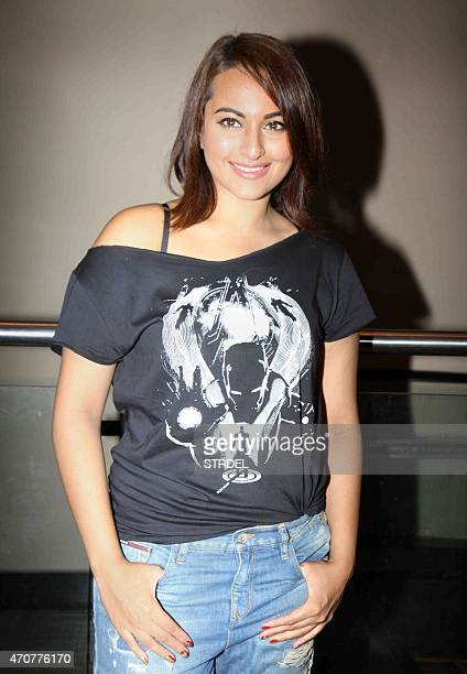 Indian Bollywood actress Sonakshi Sinha poses for a photograph during a screening of Hollywood film 'Avengers Age of Ultron' in Mumbai on late April...
