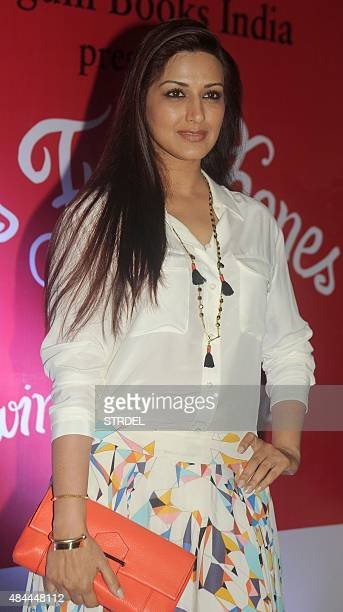 Indian Bollywood actress Sonali Bendre poses for a photograph during the launch of the 'Miss Funnybones' book written by actress columnist and...