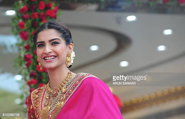 Indian Bollywood actress Sonam Kapoor looks on during a promotional event in Chennai on September 25 2016 / AFP / ARUN SANKAR