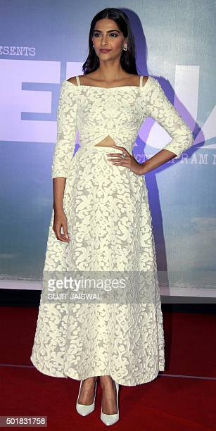 Indian Bollywood actress Sonam Kapoor poses during the launch of the trailer of the forthcoming biopic 'Neerja' in Mumbai late December 17 2015 The...