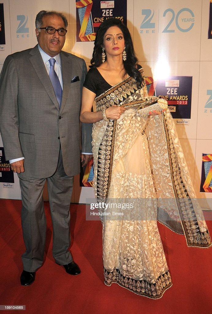 Indian bollywood actress Sridevi with her husband Boney Kapoor attending Zee Cine Awards 2013 at Yash Raj Studio on January 6, 2013 in Mumbai, India.