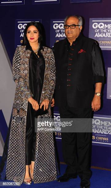 Indian Bollywood actress Sridevi with husband Boney Kapoor attends GQ India's ninth anniversary with the annual Men of the Year Awards 2017 in Mumbai...