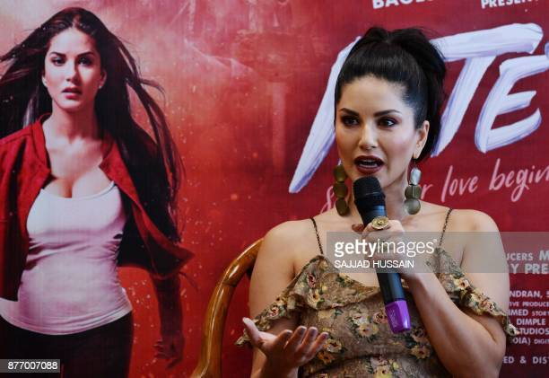 Indian bollywood actress Sunny Leone speaks during a promotional event for her upcoming movie 'Tera Intezaar' in New Delhi on November 21 2017 / AFP...