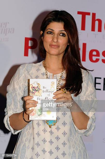 Indian Bollywood actress Twinkle Khanna attends the book launch of 'The Village of Pointless Conversation' which spawned the Hindi film 'Finding...