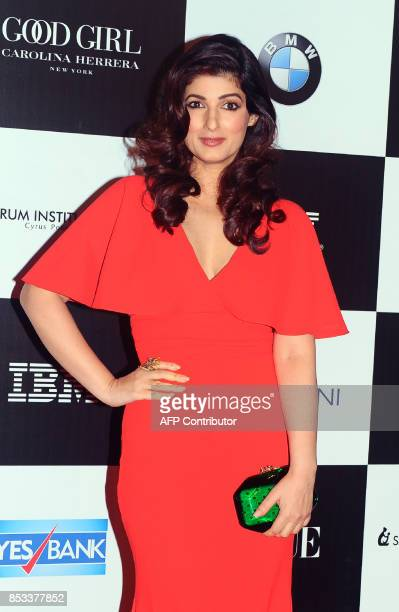 Indian Bollywood actress Twinkle Khanna poses for a photo during the 10th edition of the 'Vogue Women of the Year Awards' event in Mumbai on...