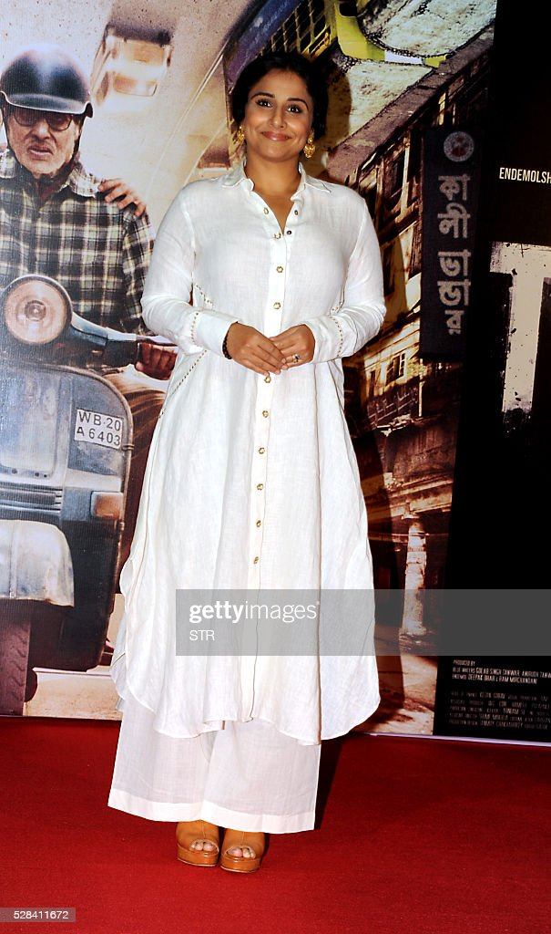Indian Bollywood actress Vidya Balan attends the trailer launch of the forthcoming Hindi film TE3N directed by Ribhu Dasgupta and produced by Sujoy Ghosh in Mumbai on May 5, 2016. / AFP / STR