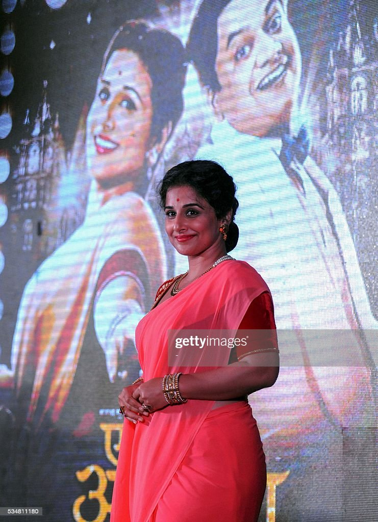 Indian Bollywood actress Vidya Balan promotes upcoming Marathi film 'Ek Albela' in Mumbai on May 28, 2016. / AFP / -