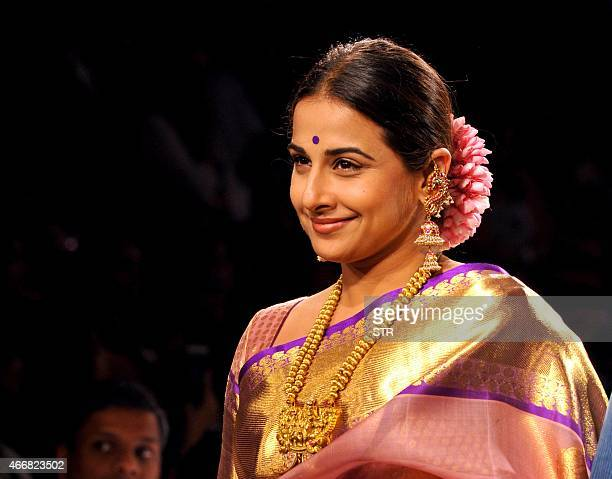 Indian Bollywood actress Vidya Balan showcases a creation by designer Gaurang on the second day of the Lakme Fashion Week summer/resort 2015 in...