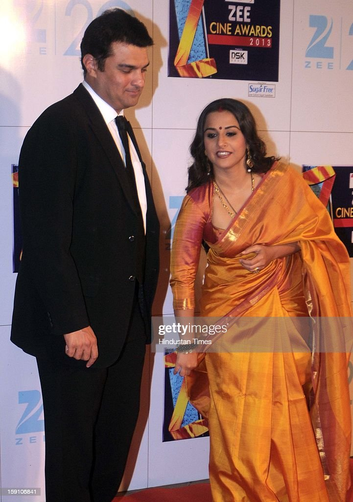 Indian bollywood actress Vidya balan with her husband Siddharth Roy Kapoor, CEO of UTV Motion Pictures attending Zee Cine Awards 2013 at Yash Raj Studio on January 6, 2013 in Mumbai, India.