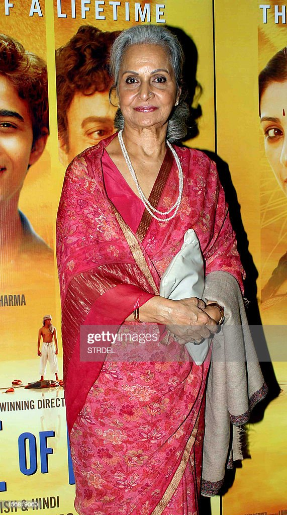 Indian Bollywood actress Waheeda Rehman poses as she attends a special screening of the film 'Life of Pi' in Mumbai late November 21, 2012. AFP PHOTO/STR