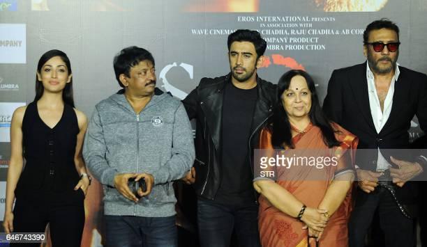 Indian Bollywood actress Yami Gautam director Ram Gopal Varma actor Amit Sadh actress Rohini Hathangadi and actor Jackie Shroff pose during the...