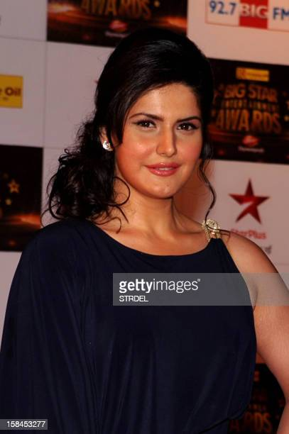Indian Bollywood actress Zarine Khan poses as she attends the 'Big Star Entertainment Awards 2012' ceremony in Mumbai late December 16 2012 AFP...