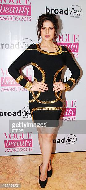 Indian Bollywood actress Zarine Khan poses as she attends the Vogue Beauty Awards 2013 ceremony in Mumbai late August 1 2013 AFP PHOTO/STR