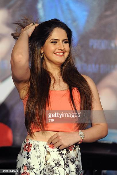 Indian Bollywood actress Zarine Khan poses during the trailer launch of the upcoming Hindi film 'Hate Story 3' directed by Vishal Pandya in Mumbai on...